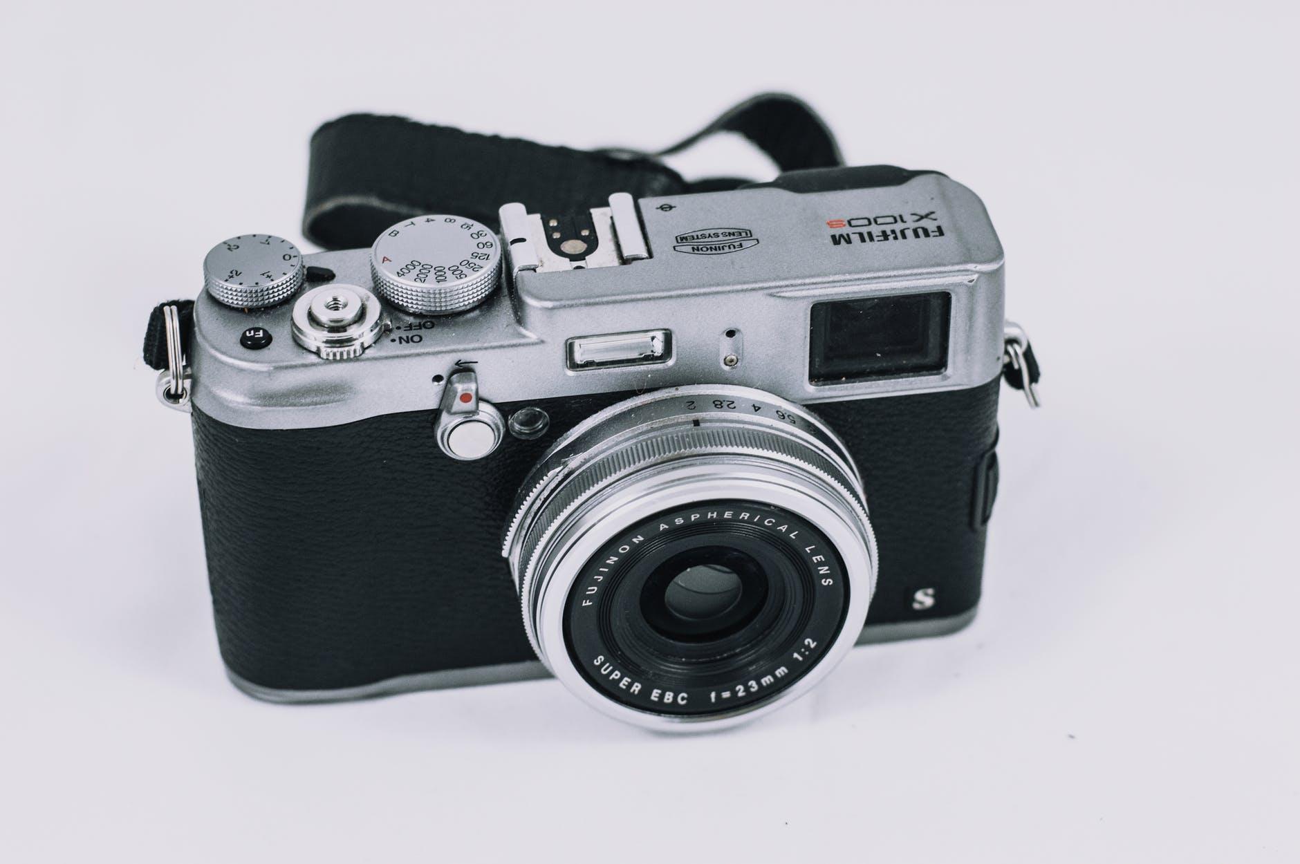 black and gray fujifilm camera
