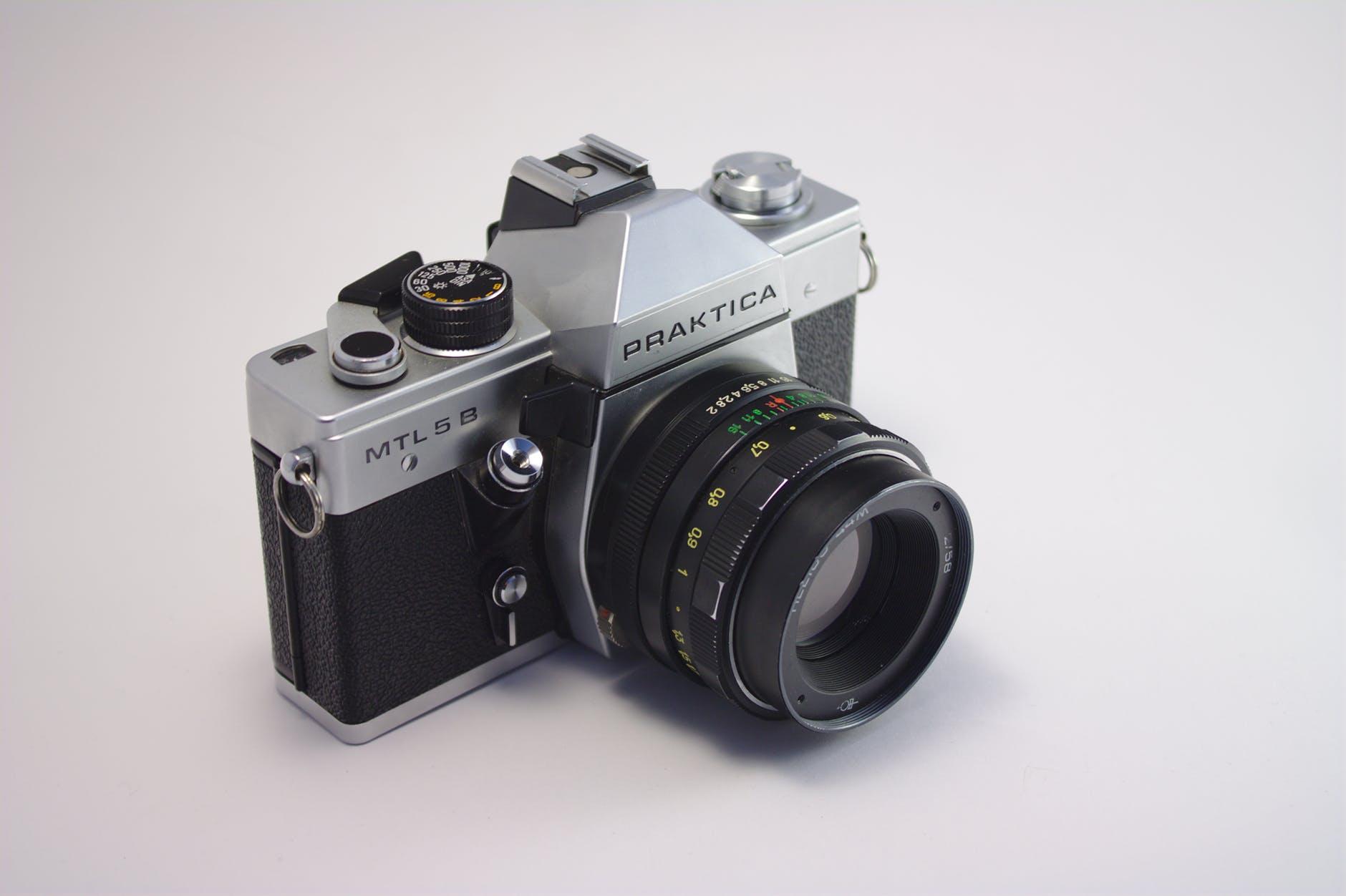 close up photography of praktica camera